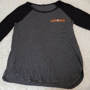 Black and Grey Long Sleeve Top